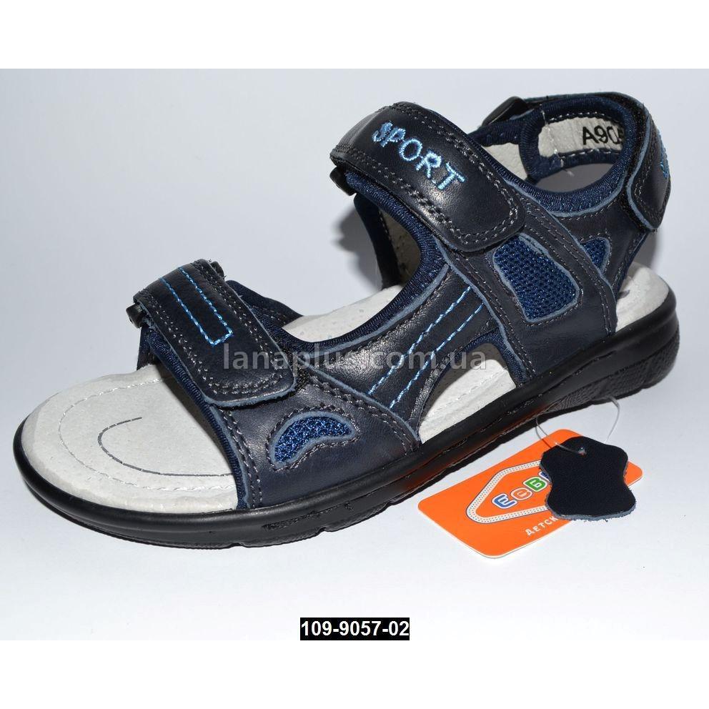 Кожаные босоножки для мальчика, 35 размер (22.5 см), супинатор, кожаная стелька, 3 липучки