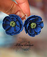 """""""Синие маки"""" авторские серьги ручной работы с цветами из полимерной глины, фото 1"""