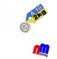 Магнит в корпусе с зенковкой под саморез (потай) A10, 2кг ✰ПОЛЬША•N42•ГАРАНТИЯ 30лет✰, фото 1