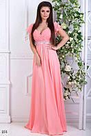 Платье вечернее длинное без рукав масло+атлас+шифон 42-46