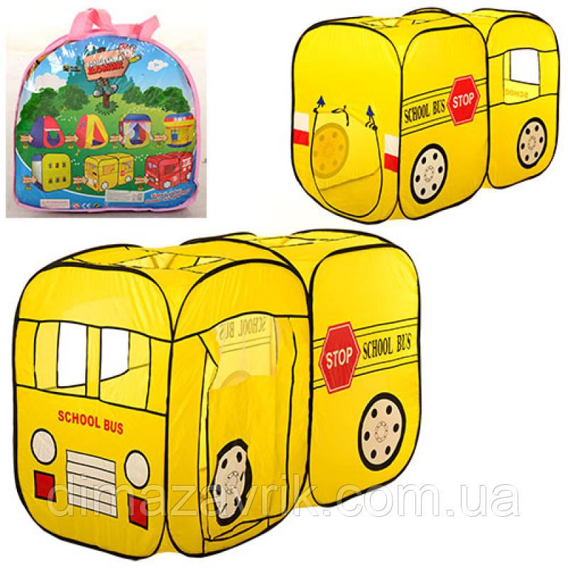 Палатка M 1424школьный автобус, 2 входа, 2 окна, в сумке, 39-39-5 см