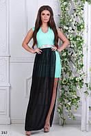 Платье на выпуск длинное одна нога открытая костюмка+шифон 42-44,44-46,46-48, фото 1
