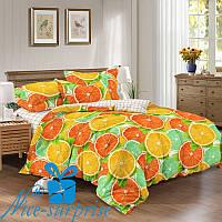 Полуторный набор постельного белья из сатина ФРУКТОВЫЙ МИКС (150*220), фото 1