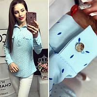 Блуза женская, модель 780, цвет - голубой в лепесточек, фото 1