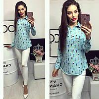 Блуза женская, модель 780, цвет - голубой с принтом, фото 1