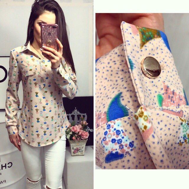 Блуза женская, модель 780, цвет - персиковый с принтом