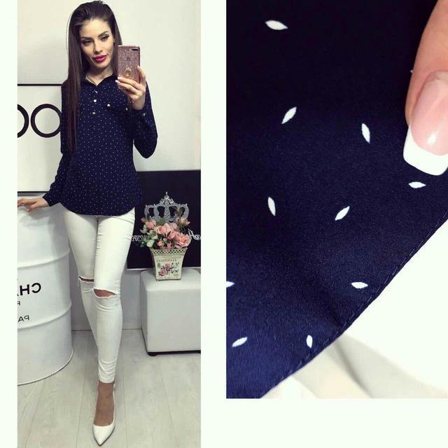 Блуза женская, модель 780, цвет - синий в лепесточек