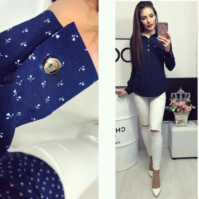 Блуза женская, модель 780, цвет - синий в цветочек