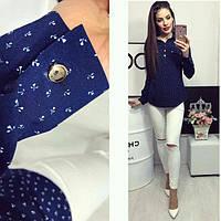 Блуза женская, модель 780, цвет - синий в цветочек, фото 1