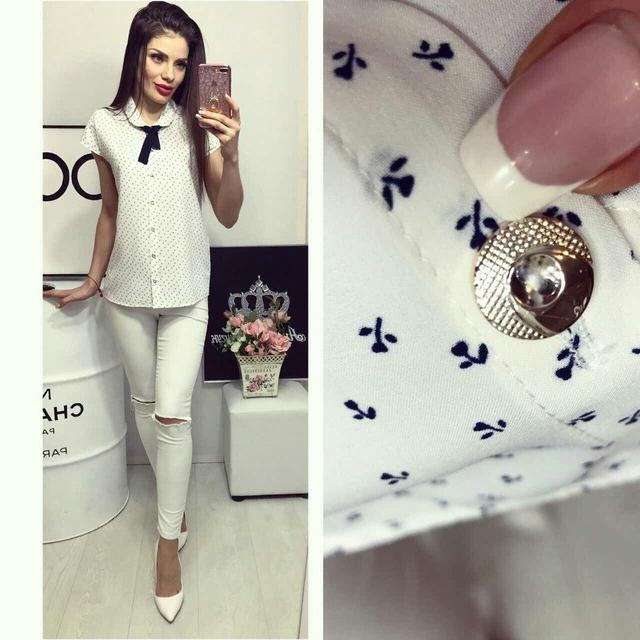 Блуза женская, модель 781, цвет - белый в цветочек