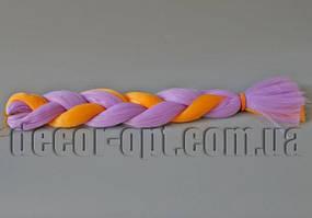 Канекалон двухцветные сиренево-оранжевые 60см(120см)/100гр арт.ORANG/2403A