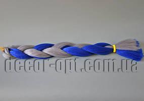 Канекалон двухцветные сине-серые 60см(120см)/100гр арт.2GREY/BLUE