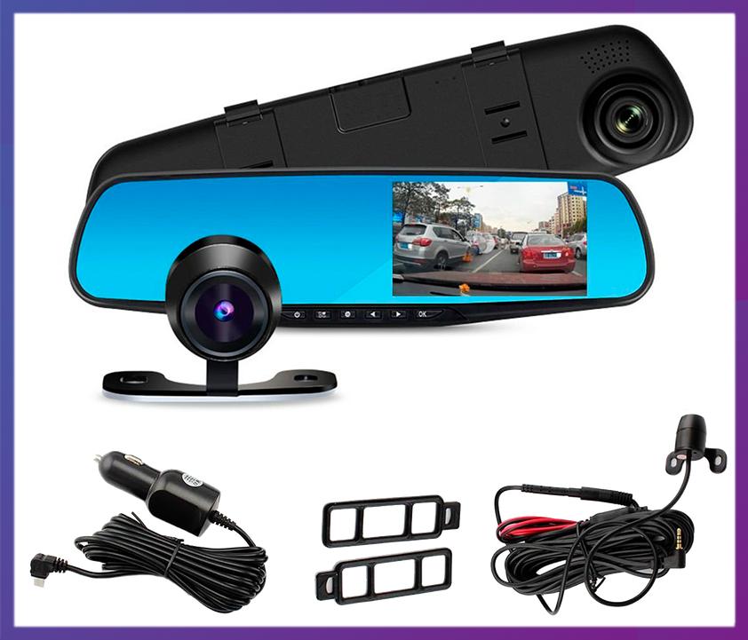 "Видеорегистратор зеркало с задней камерой Vehicle Blackbox DVR Full HD  (4,3"") - 2 камеры."