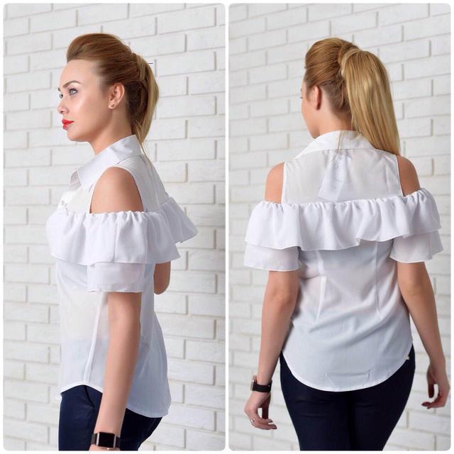 Рубашка женская с двойным рюшем, модель 904
