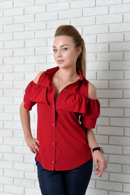 Рубашка женская с двойным рюшем, модель 904, цвет - вишневый