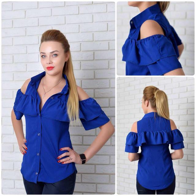 Рубашка женская с двойным рюшем, модель 904, цвет - электрик