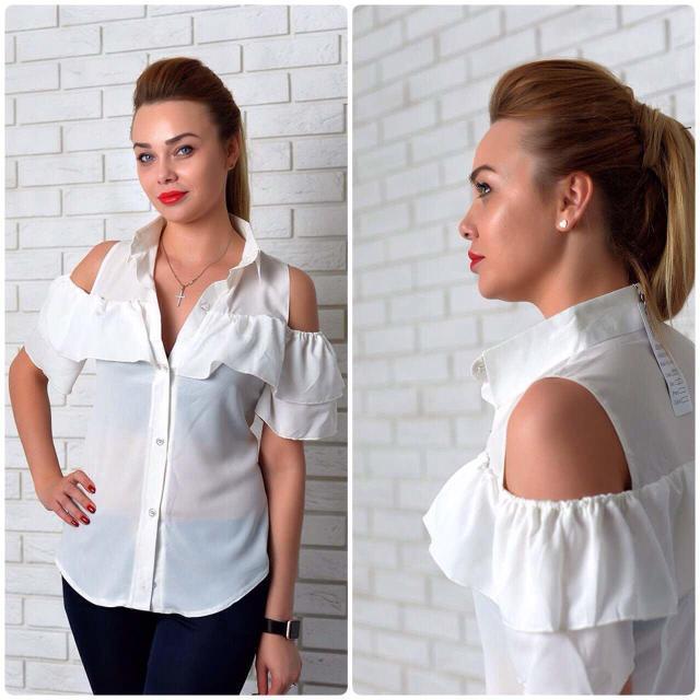 Рубашка женская с двойным рюшем, модель 904, цвет - молоко