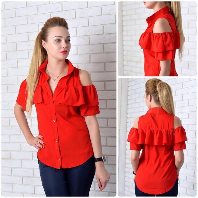 Сорочка жіноча з рюшем, модель 905, колір - червоний