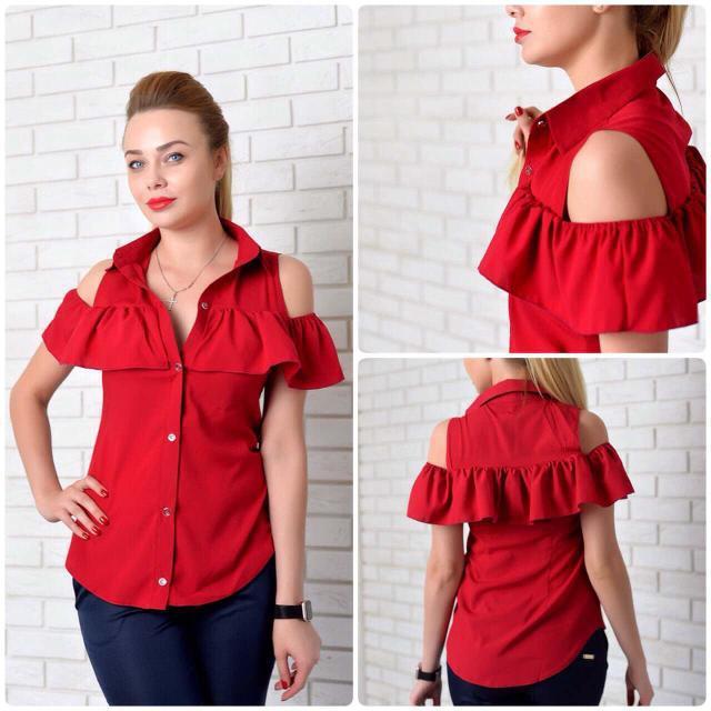 Рубашка женская с рюшем, модель 905, цвет - вишневый