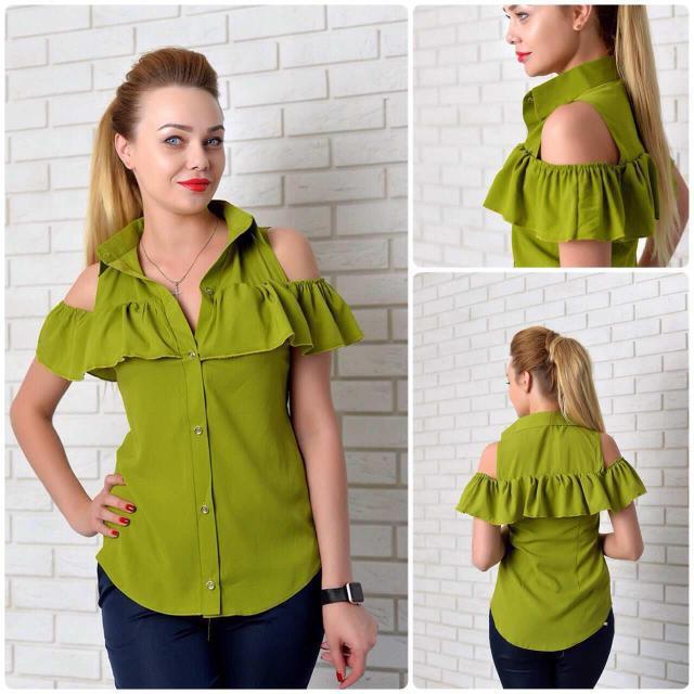 Рубашка женская с рюшем, модель 905, цвет - яблоко