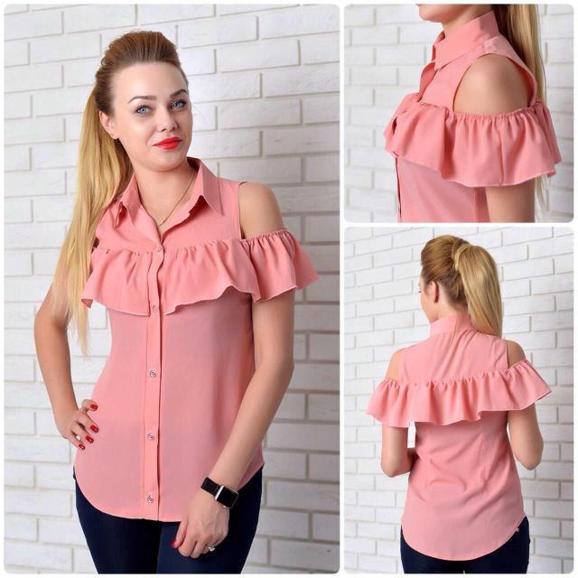 Рубашка женская с рюшем, модель 905, цвет - розовый
