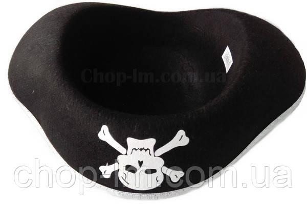Шляпа-треуголка, шляпа пирата (серебряный ободок)