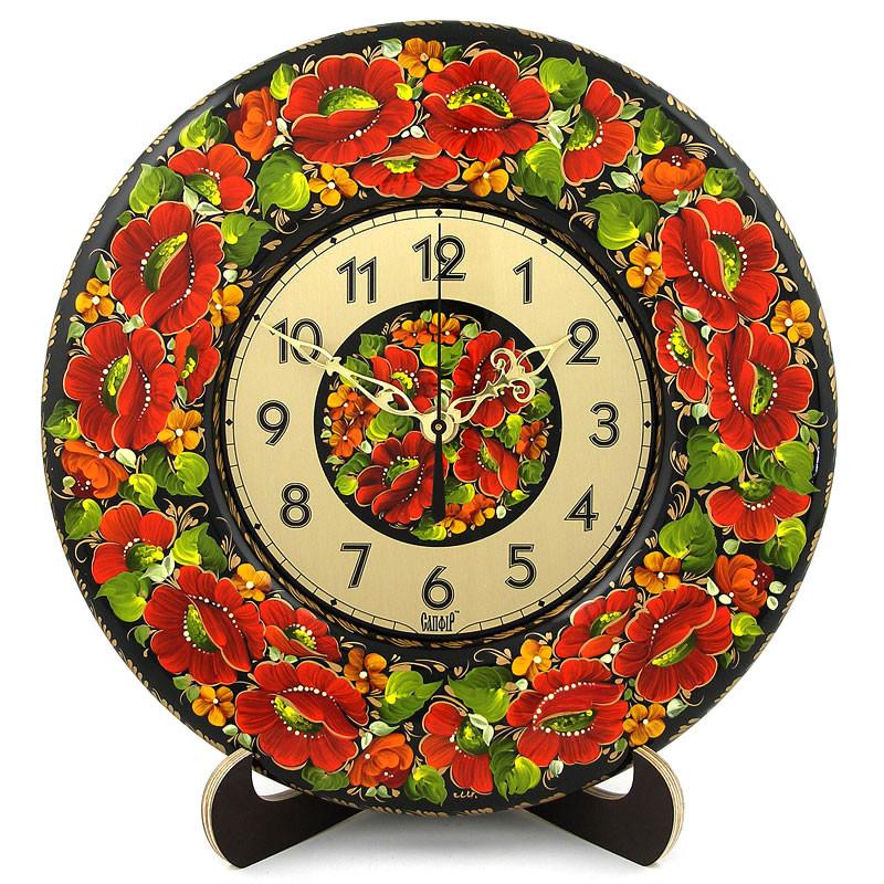Часы Мак-мелкоцвет. Украинский сувенир. Петриковская роспись., фото 1
