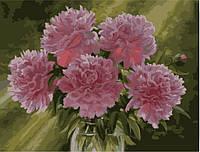 "KHO 1119 ""Розовые пионы в вазе"" Роспись по номерам на холсте (без коробки) 40х50см"