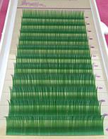 Ресницы зеленые mix С 0.10 (8-12 мм), фото 1