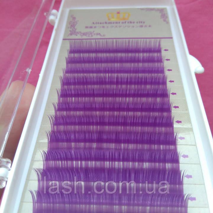 Ресницы фиолетовые mix D 0.07 (8-12 мм), фото 1
