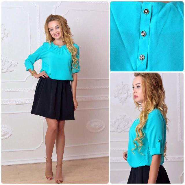 Блуза женская с брошкой-бант, модель 779, цвет - бирюзовый