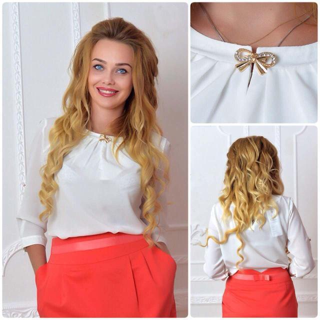 Блуза женская с брошкой-бант, модель 779, цвет - молоко