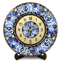 Часы Райская гжелка. Украинский сувенир. Петриковская роспись., фото 1