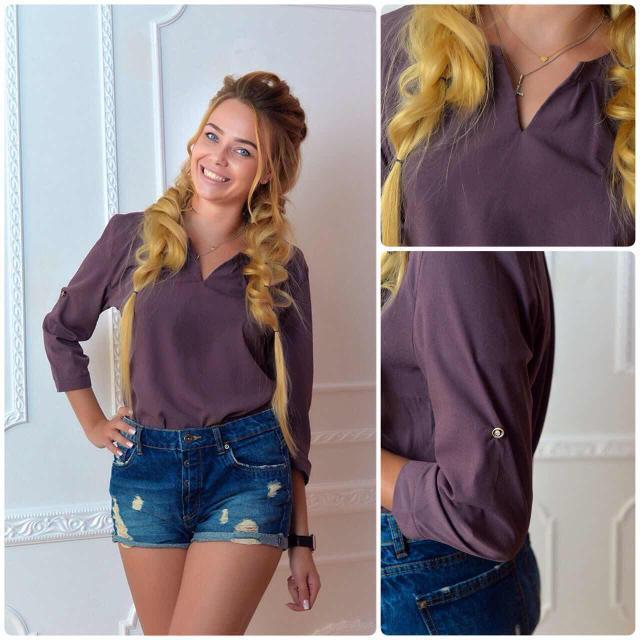 Блуза женская с брошкой-бант, модель 779, цвет - сливовый