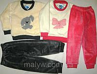 Пижама вельсофт однотонная с вышивкой р.98, фото 1