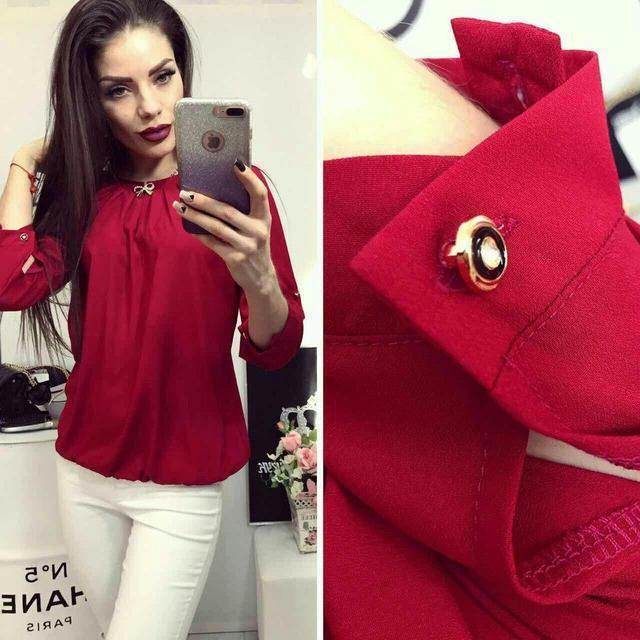 Блуза женская с брошкой-бант, модель 779, цвет - вишневый