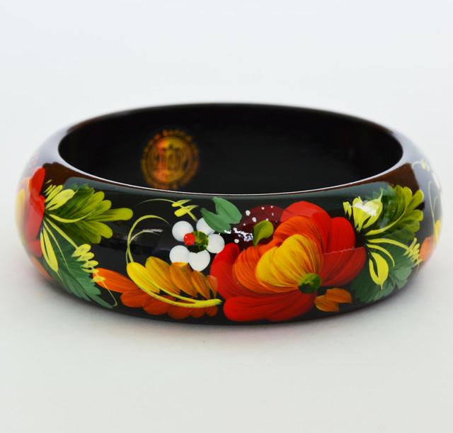 браслет деревянный Петриковская роспись