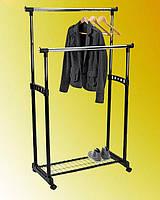"""Напольная стойка вешалка для одежды двойная, с полкой для обуви """"J-1205"""" (длина перекладины 83 см)"""