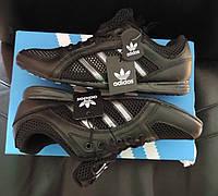 Детские (подростковые) кожаные кроссовки Adidas Originals Daroga Black, реплика
