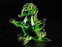 Фигурка Дракон из стекла зеленая