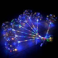 Шар светящийся BoBo с Led гирляндой на палочке (мульти немигающая 2 батарейки)