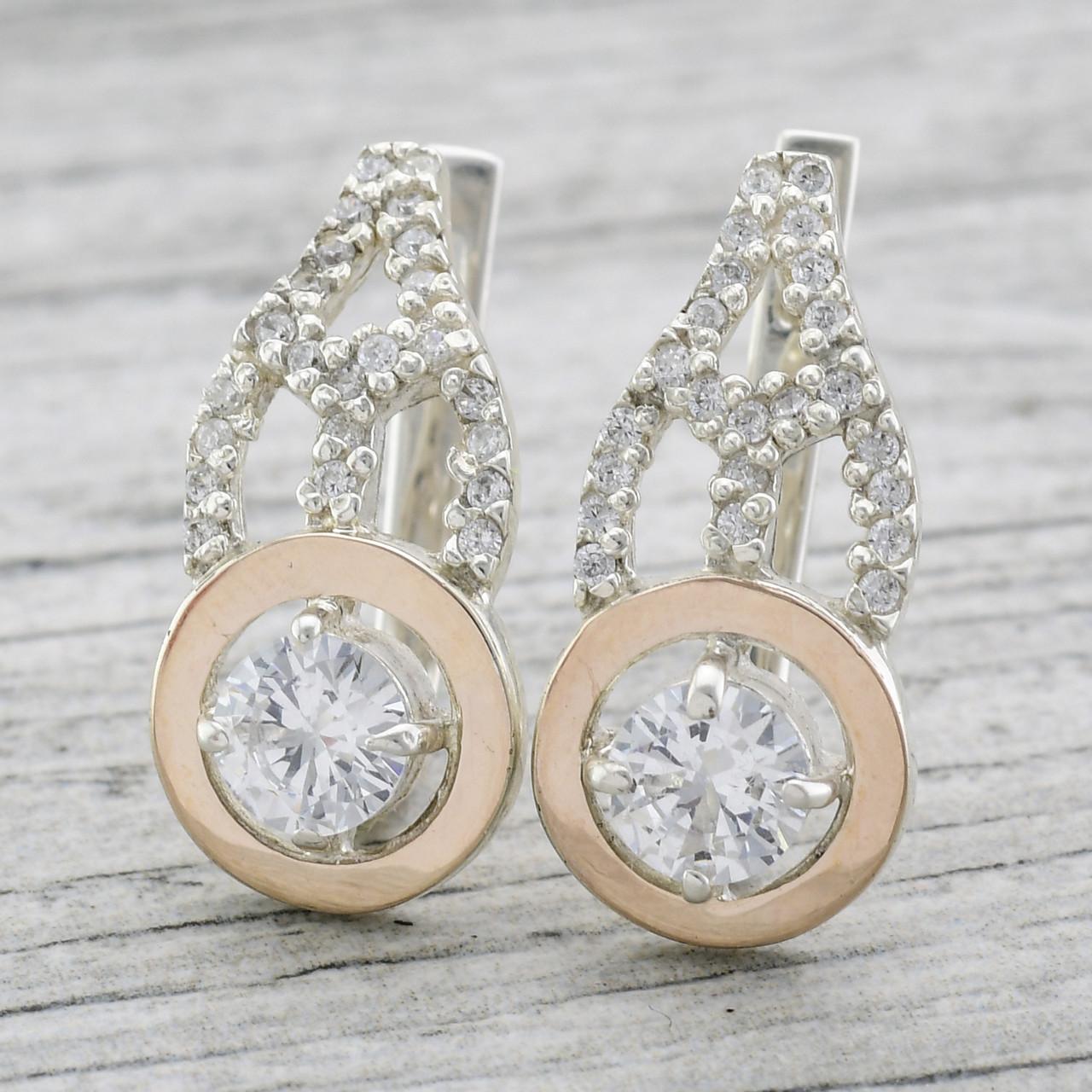 """Серебряные серьги с золотыми пластинами """"Даяна"""", размер 24*11 мм, вставка белые фианиты, вес 6.8 г"""