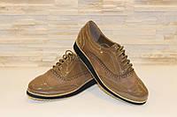 Туфли женские бежевые на шнурках Т700 р 36, фото 1