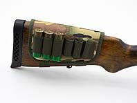 Патронташ на приклад на 6 патронов камуфляж на ткани цвет 3 5084