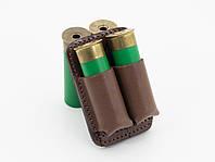 Подсумок на 2 патрона на розгрузочную лямку кожаный коричневый 5067/2, фото 1