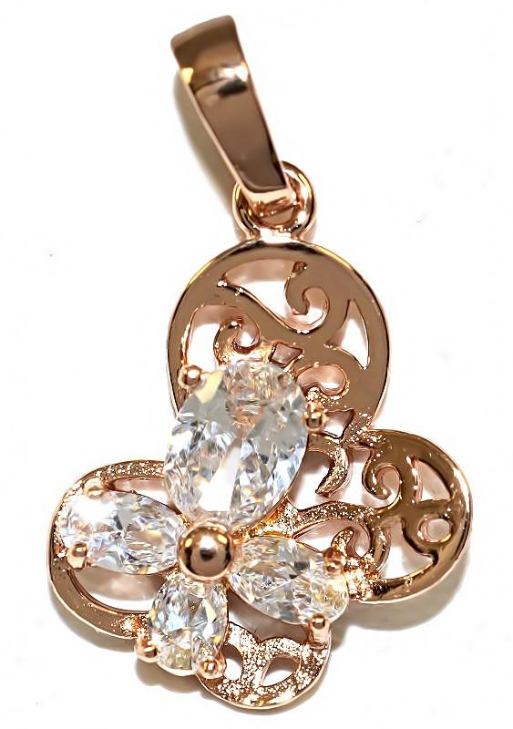"""Кулон """"Бабочка"""" фирма Xuping, цвет: позолота. Камни: белый циркон. Высота кулона: 2,7 см. Ширина: 17 мм."""