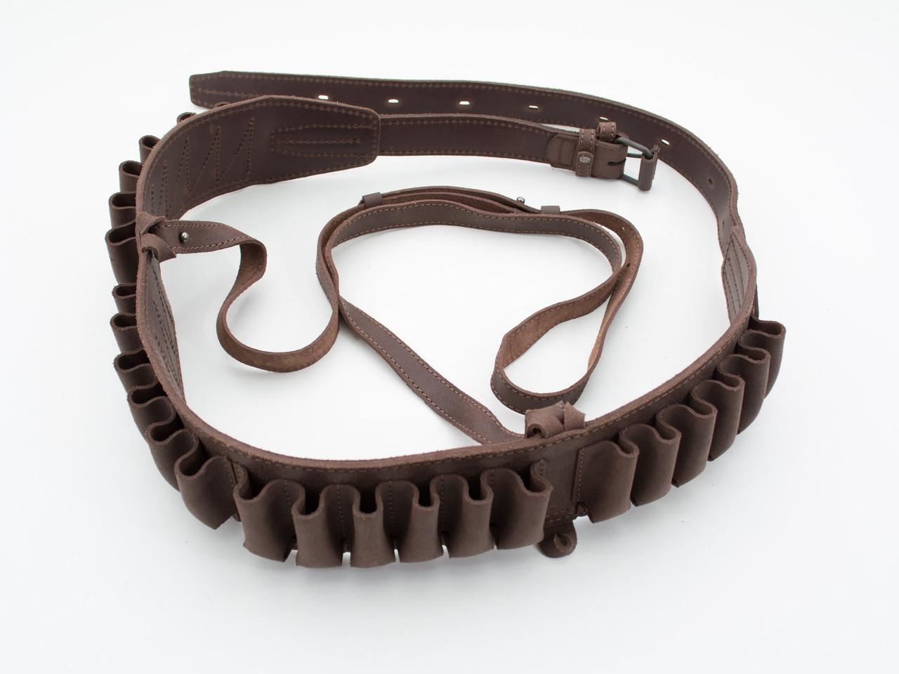 Патронташ на пояс на 24 патрона открытый кожа коричневый 10305/2