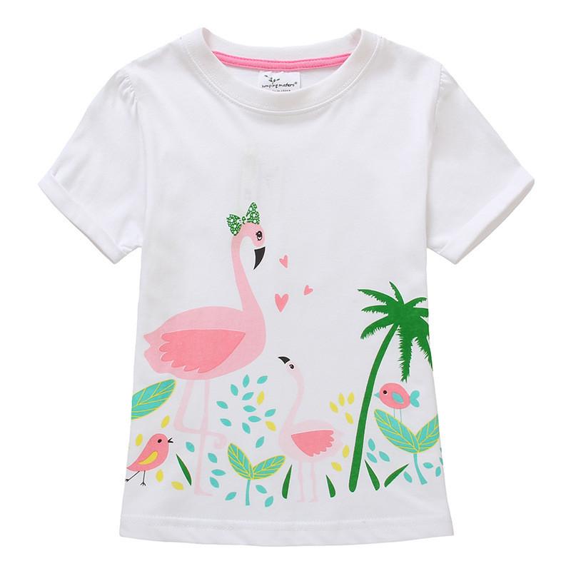 Футболка для девочки детская Розовый фламинго Jumping Meters