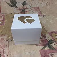 Коробка для 1-ого кекса / 100х100х90 мм / Белая / окно-2 Сердц / лк, фото 1