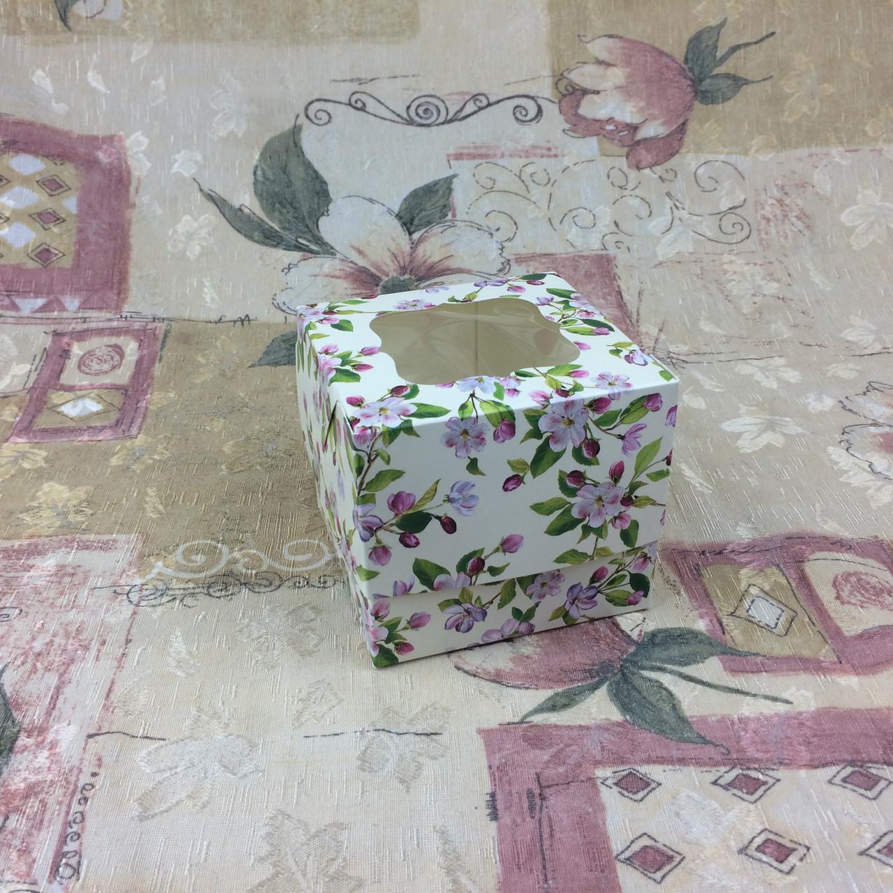 Коробка для 1-ого кекса / 100х100х90 мм / печать-Весна / окно-обычн / лк / цв